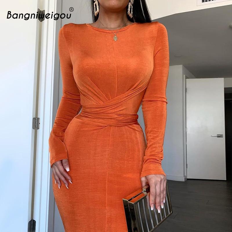 Bangniweigou Ruched Waist Wrap Midi Dress Women Elegant Long Sleeve Bodycon Party Dress Autumn Skinny Robe Femme Solid Color