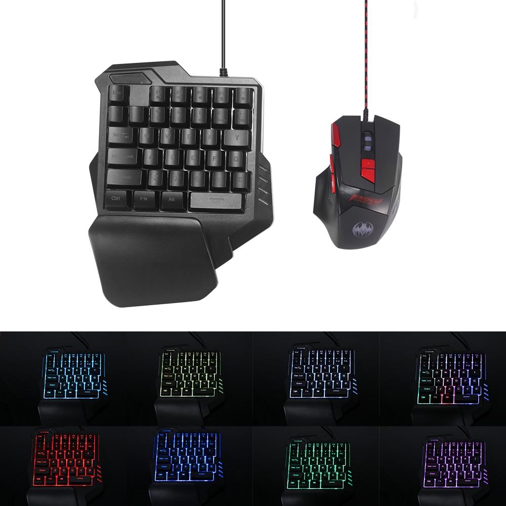 يد واحدة لوحة مفاتيح الألعاب الميكانيكية RGB الخلفية المحمولة لوحة مفاتيح الألعاب الصغيرة أذرع التحكم في ألعاب الفيديو للكمبيوتر PS4 Xbox Gamer