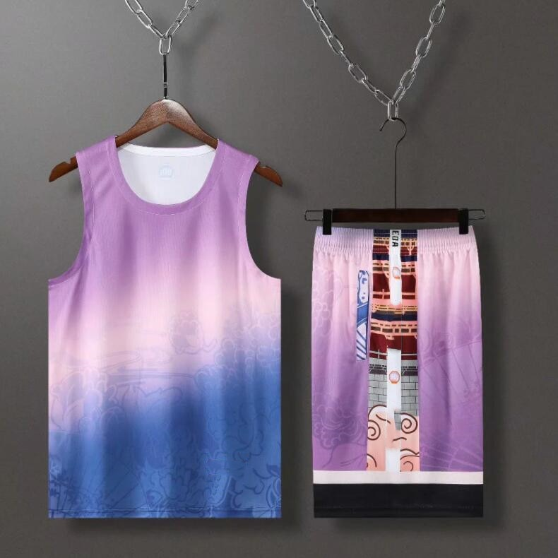 #855 L AO sleeveless shorts suit, surface printing, suitable for summer, breathable and comfortable