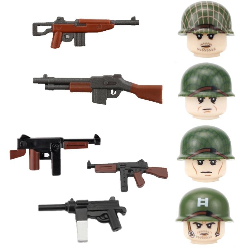 WW2 десантная дивизия 101st фигурки солдат двухцветное оружие строительные блоки военная армия США пушки мини Кирпичи игрушки для детей