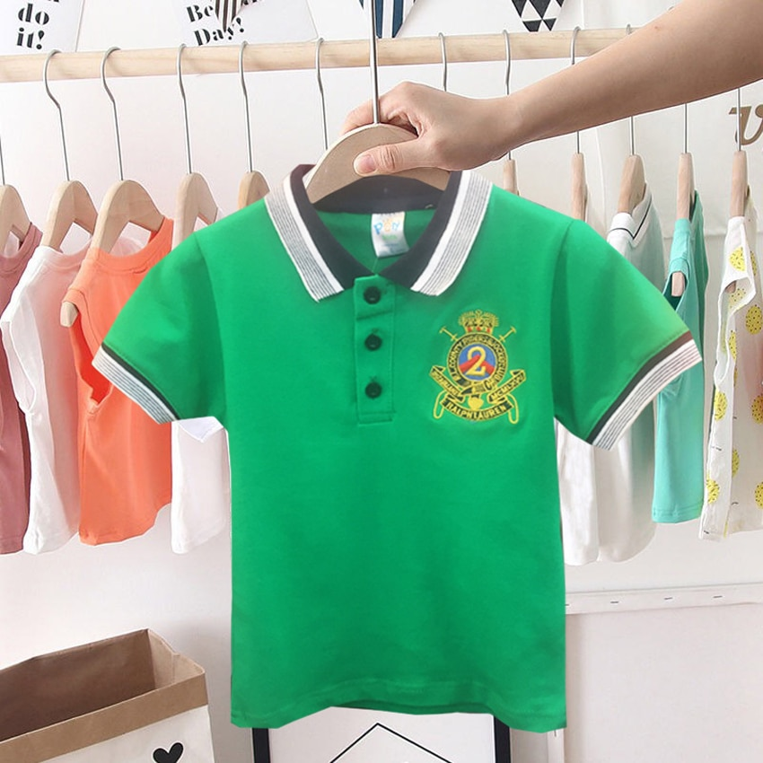 Neue mode Stickerei baby Jungen T-shirt Für Jungen Tops t Baumwolle Kurzarm Kinder t-shirt drehen-unten Kragen Jungen kleidung outfits