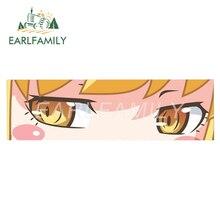 EARLFAMILY 15 см x 4,5 см мультфильм Shinobu с подвижными лапами девочек глаз шлепок наклейка JDM шлем окна автомобильные наклейки на бампер аниме винил Графика