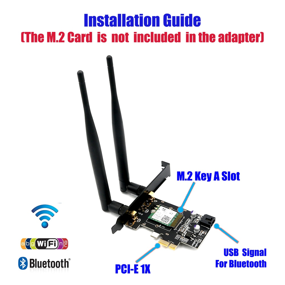pci e to m 2 nvme ngff riser card m key b key hard disk drive adapter desktop hdd expansion card for mac linux windows NGFF M.2 key A to PCI-e X1 Adapter for WiFi and Bluetooth Card  WiFi card(NGFF M.2 key B) to PCIe 1x