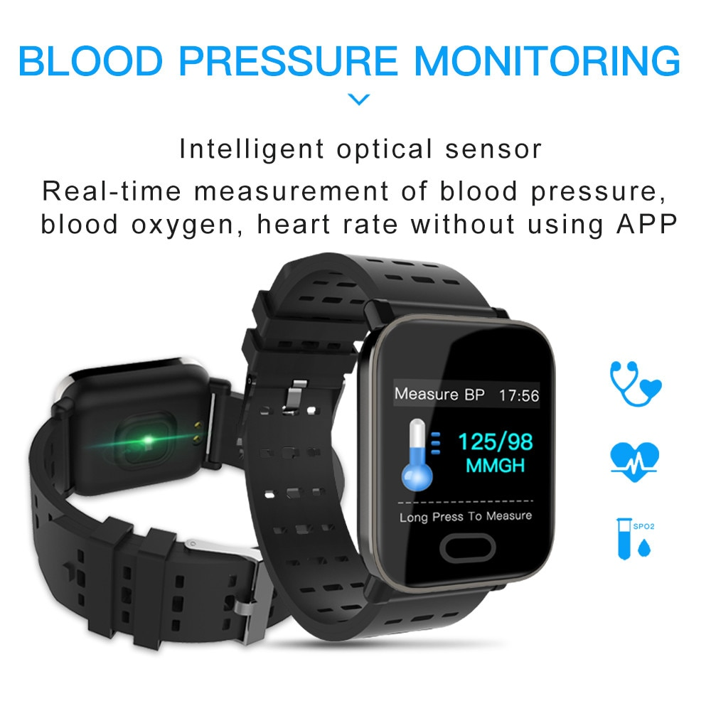 A6 Color Screen Blood Pressure Sport SmartWatch Heart Rate Monitor Fitness Tracker Men Women Smart Watch for IOS Android pk Q18