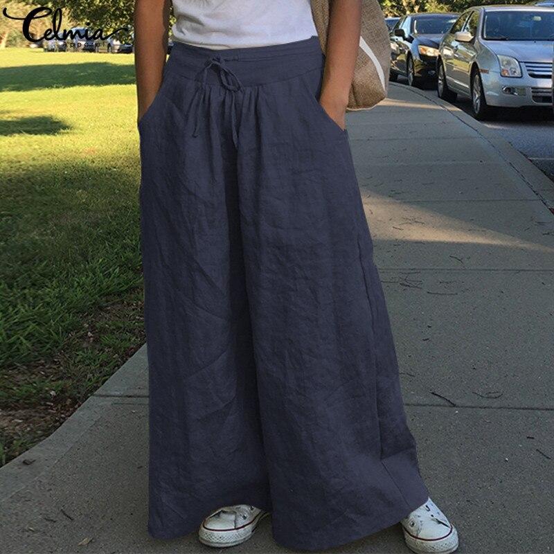 Pantalones de pierna ancha a la moda para mujer Celmia de cintura alta de algodón Lino Palazzo Casual pantalones sueltos Vintage pantalón femenino de talla grande