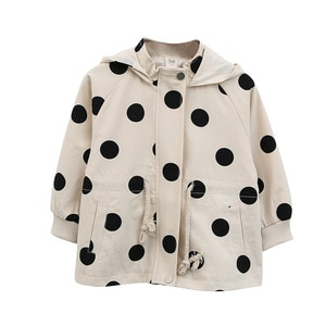 WLG spring autumn girls fashion coats kids dot printed hooded zipper long sleeve outerwear baby girl all match clothes for 3-7T