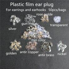 100pcs Accessories jewelry making Earrings accessories earmuffs UFO earmuffs plastic transparent metal bullet head