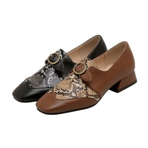 2021 spring new style square toe comfortable thick heel metal buckle Muller shoes women's shoes ladies sandals