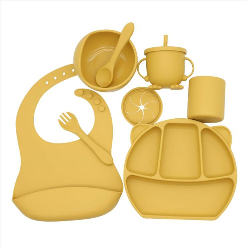 Baby Silicone Tableware Bib Dinner Plate Complementary Food Bowl Spoon Fork Snack Cup Water 8-Piece