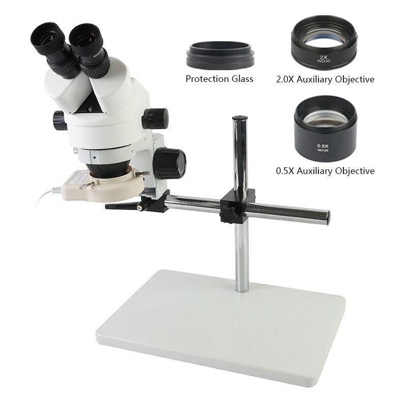 7-45X 3.5X-90X التكبير مجهر ستيريو مجهر كبير الجدول حامل 1X 0.5X 2.0X مساعدة الهدف عدسة LED مصباح مصمم على شكل حلقة
