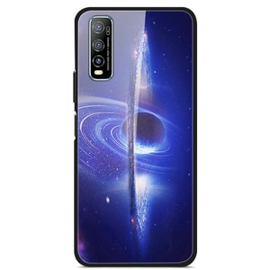 For VIVO Y70S Phone Case Tempered Glass Case Fitness Back Cover Star Sky Pattern