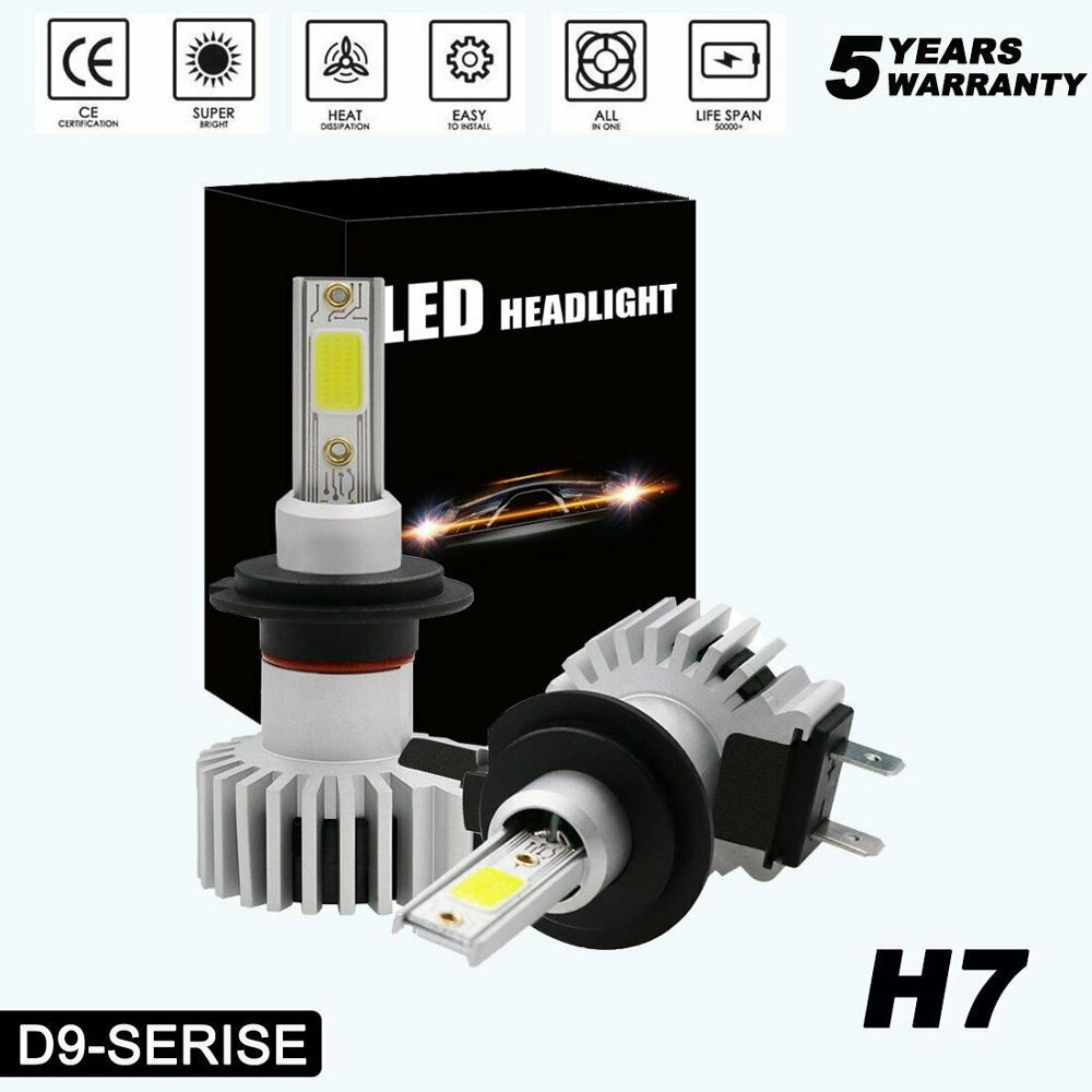 2x blanco LED H1 H3 H7 H4 H11 H9 9005 9006 faroa bombillas de faros de automóvil 72W 10000LM 6500K para 9V a 36V 200M gama de iluminación