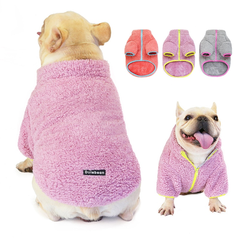 Fleece Dog Clothes Soft Warm Winter Dog Coat for Small Medium Dogs Contrast Color Basic Thick Dog Ja
