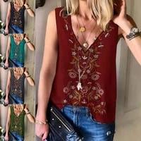 new 2021 summer women fashion ethnic print v neck vest sleeveless casual tops ladies chiffon tank tops t shirts s 5xl