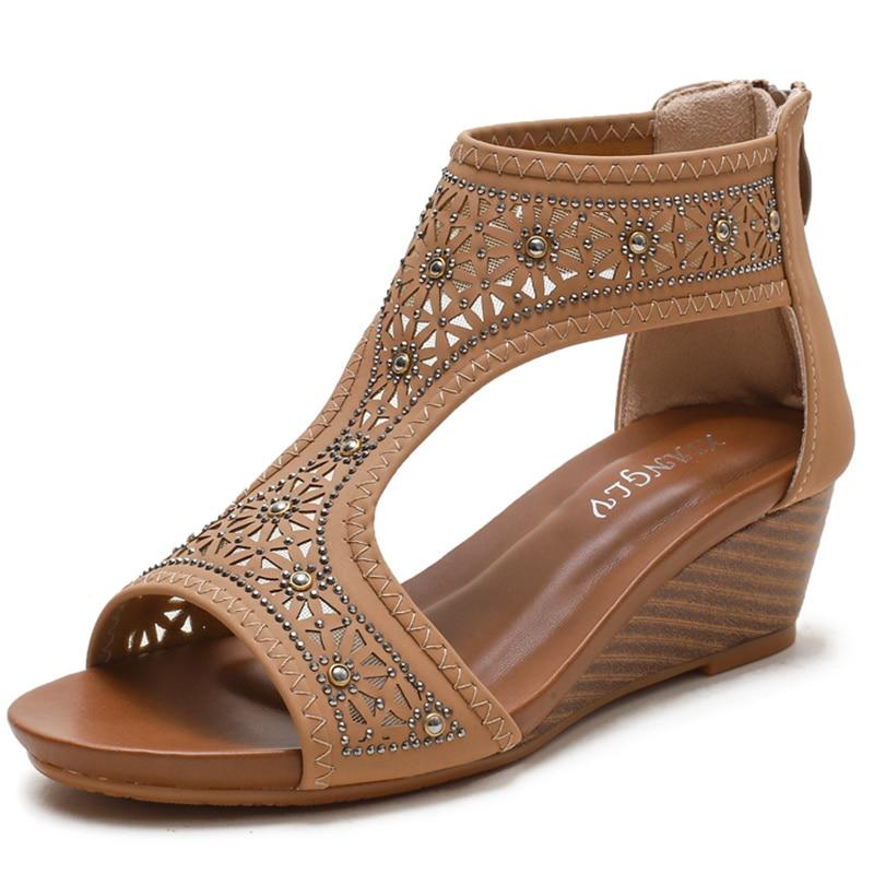 Sandalias con plataforma para mujer, zapatos de cuña de lujo, sandalias de plataforma para mujer, zapatos de tacón de moda romana, novedad de verano 2021