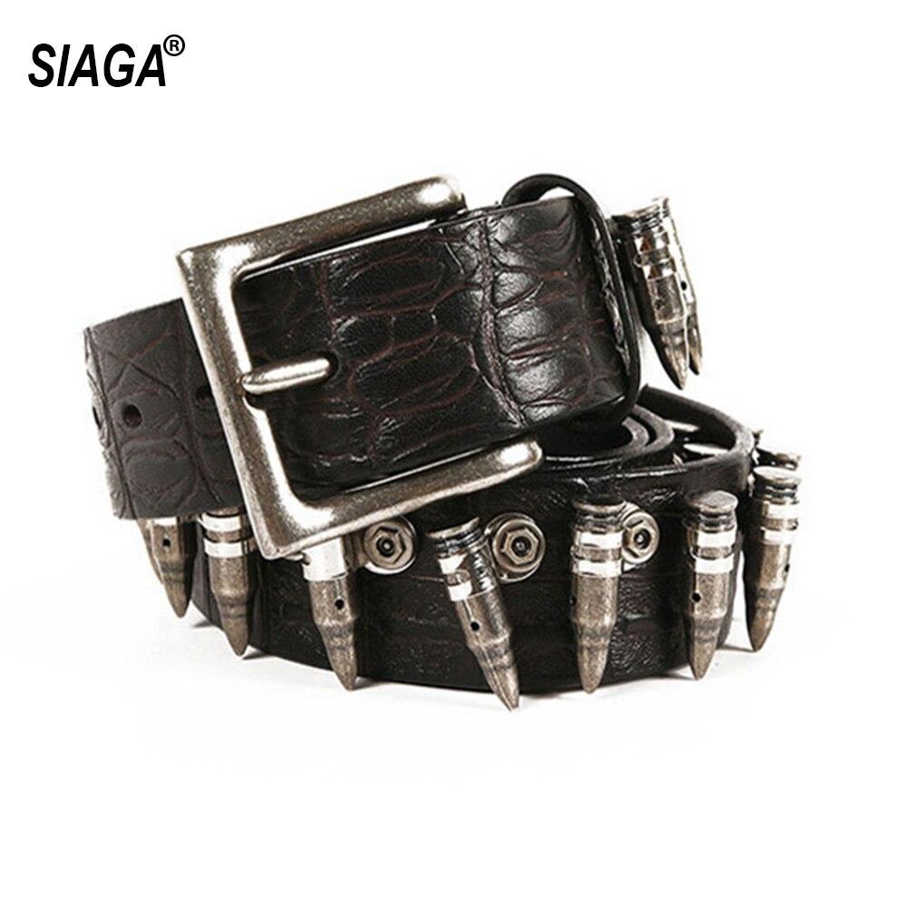 Unisex personalizado Hip Hop Rock bala de Metal Western Cowboy Accesorios Cinturones de cuero de vaca para mujeres y hombres 3,8 cm SA023