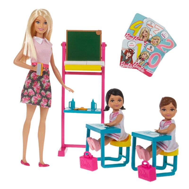 Original barbie pouco inglês professor menina princesa brinquedo conjunto grande caixa de presente ffb19