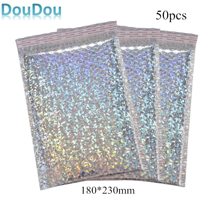 50pcs Silver Bubble Mailers Laser Poly Mailer Waterproof Bubble Envelope Mailing Shipping Bag Package for Gift Bag