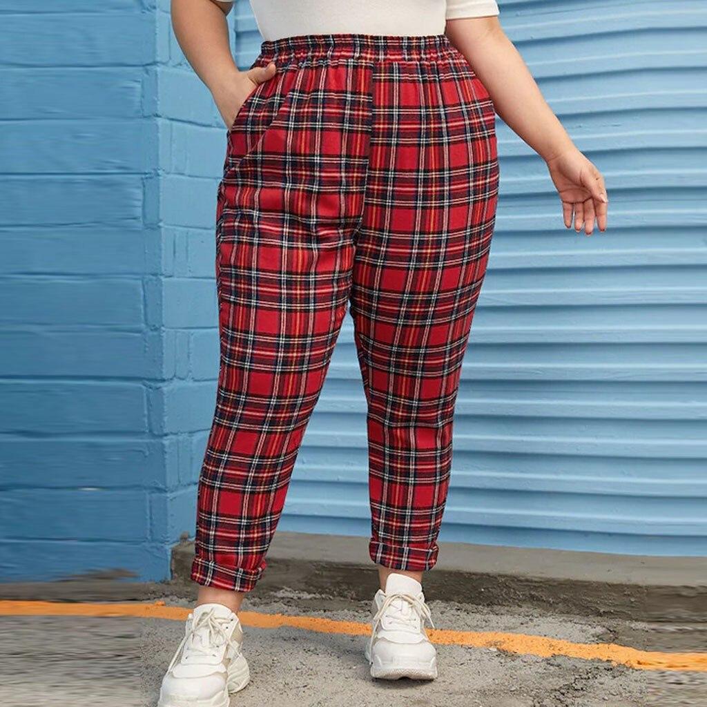 SAGACE Fashion Women Casual Pants Plus Size Plaid High Waist Elastic Sport Fitness High Waist Patchwork Stretch Pant Trouser #45