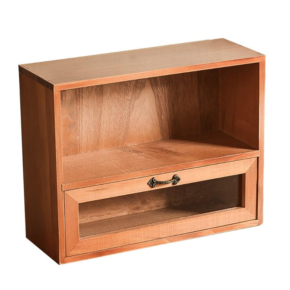 1 قطعة خشبية الرجعية منظم سطح المكتب دائم مجوهرات المنظم مع درج