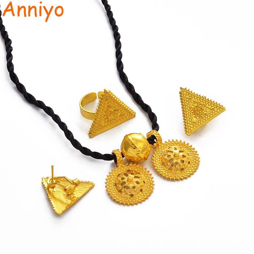 Anniyo novo habesha conjunto de jóias estilo etíope cor do ouro eritreia nupcial casamento jóias sudão acessórios #006106