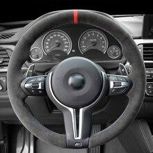 Black Alcantara Hand-stitched Car Steering Wheel Cover for BMW M3 M4 2014-2016 F33 428i 2015 F30 320d 328i 330i 2016
