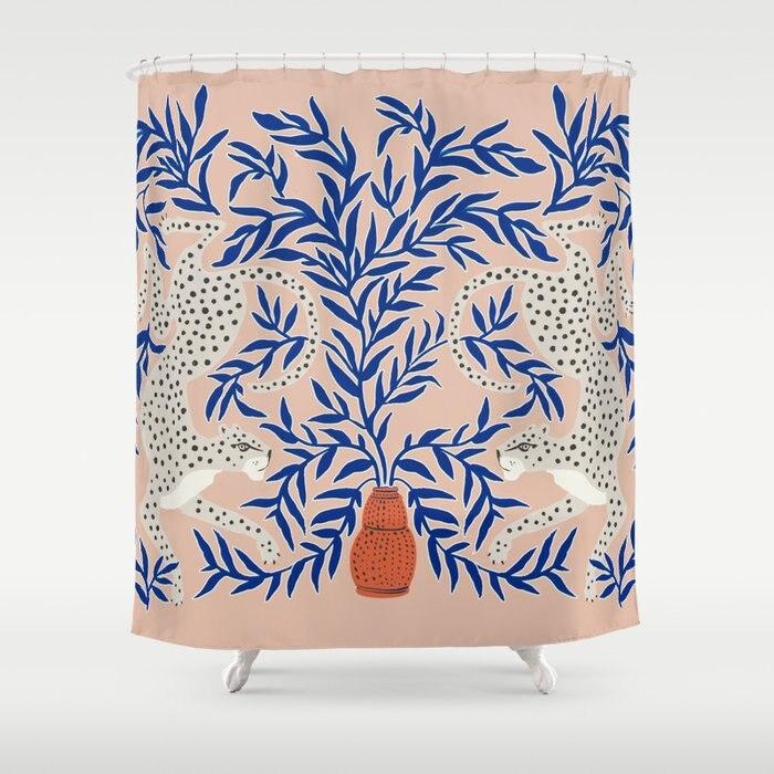 Cortina de Chuveiro à Prova Decoração do Banheiro Cortina do Banheiro Conjunto com 12 Moderno Pastoral Rosa Eopard Vaso Dwaterproof Água Impresso Ganchos