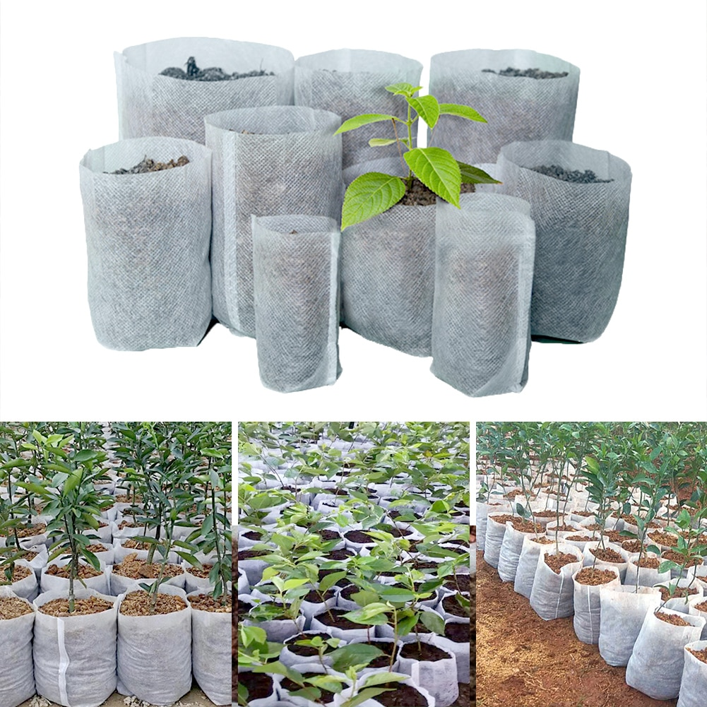 100Pcs Different Sizes Biodegradable Non-woven Seedling Pots Eco-Friendly Planting Bags Nursery Bag Plant Grow Bags for garden
