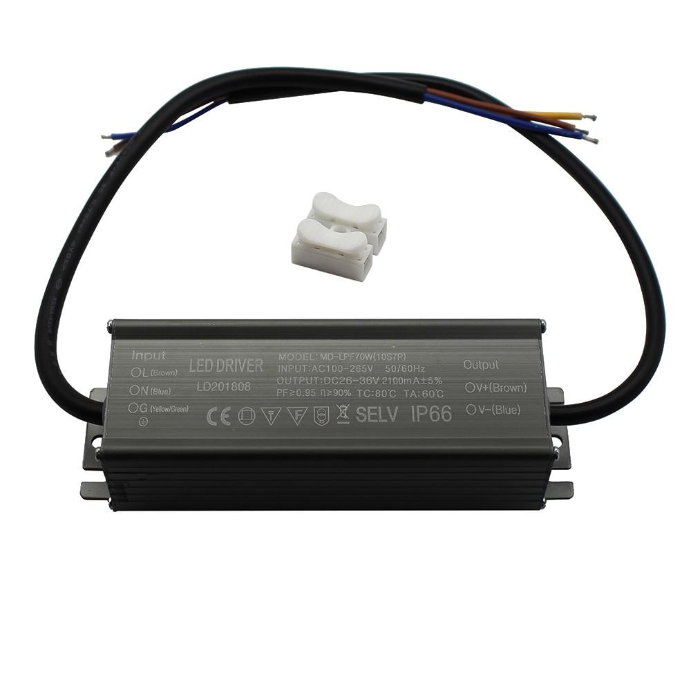 Controlador LED de aluminio IP66 70W 2100mA AC 100-265V fuente de alimentación controladores de transformador de iluminación balastro para focos/farolas