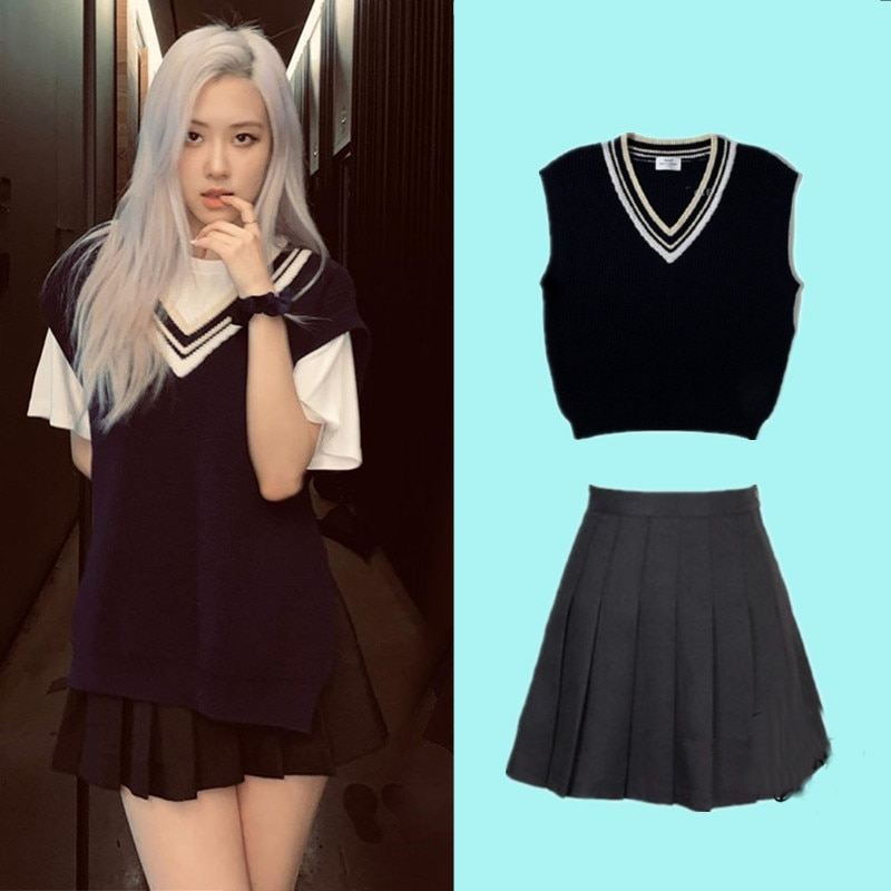 kpop TWICE EXO ROSE Autumn new fashion V-neck knit vest and white tshirt tops+black high waist mini pleated skirt women outfits