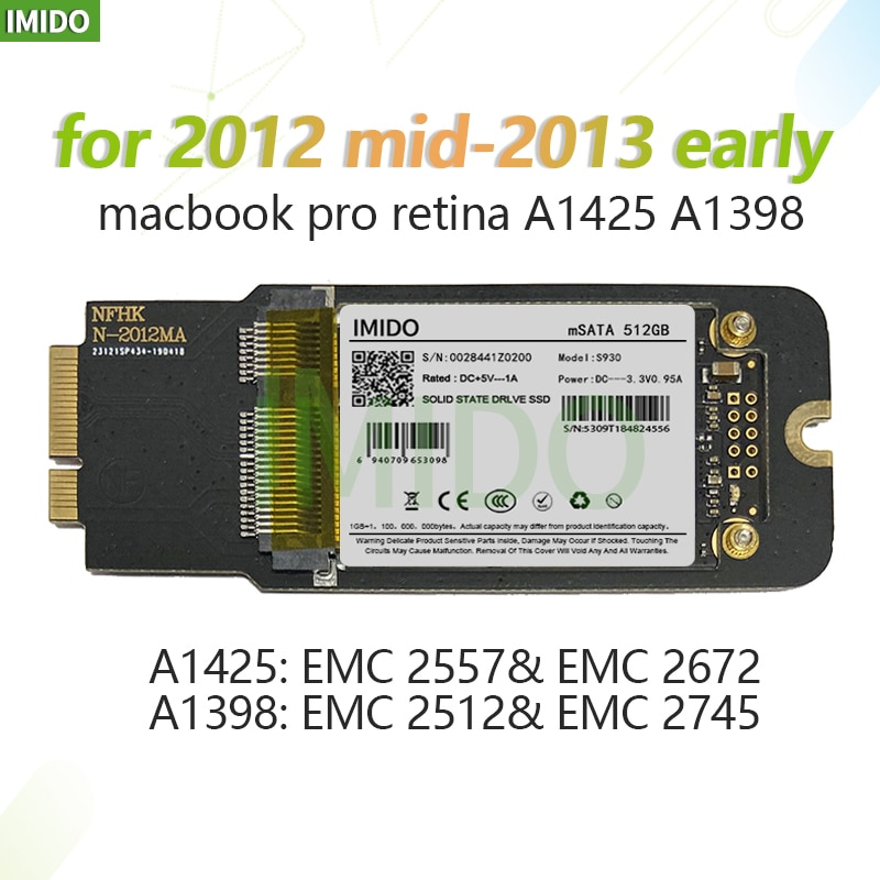 NEUE 512GB 1TB SSD Für 2012 2013 Frühen Macbook Pro Retina 13 \