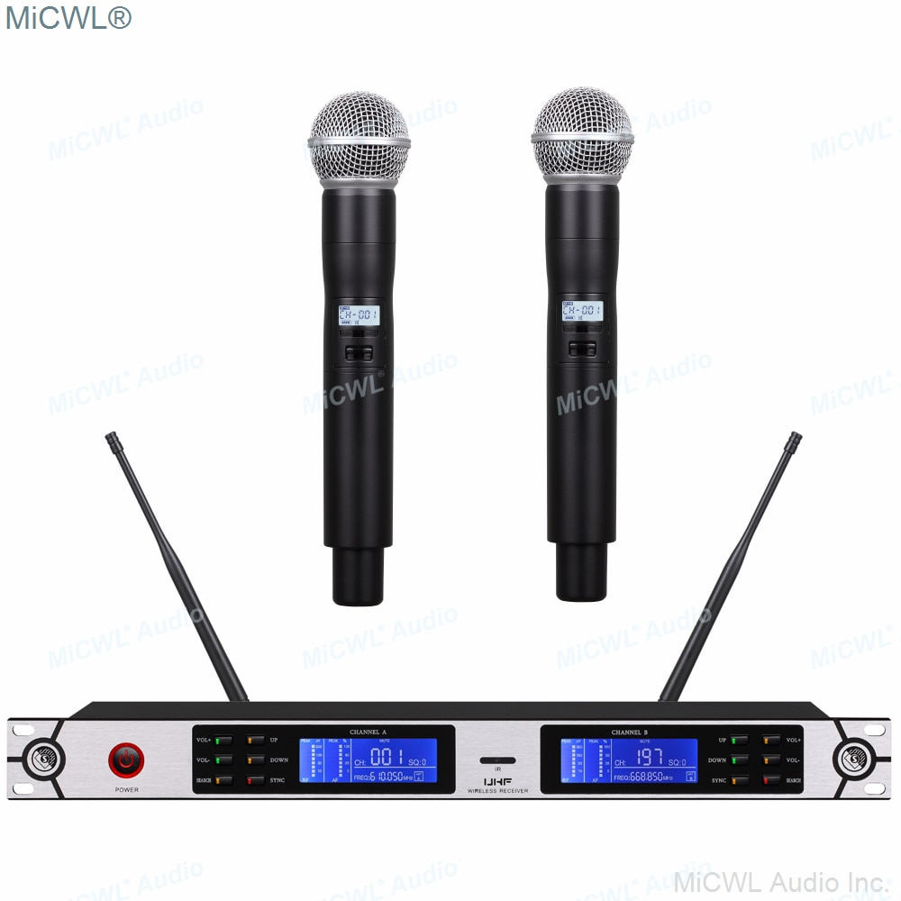Sistema de micrófono profesional UR24D inalámbrico Digital SM58 Dual SM 58 portátil 200 canales UR4D LED receptor Digital