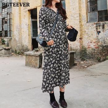 BGTEEVER Spring V-neck Floral Print Women Dress Vintage Ruched Elastic Waist Female A-line Dress 2020 Summer Midi Vestidos femme