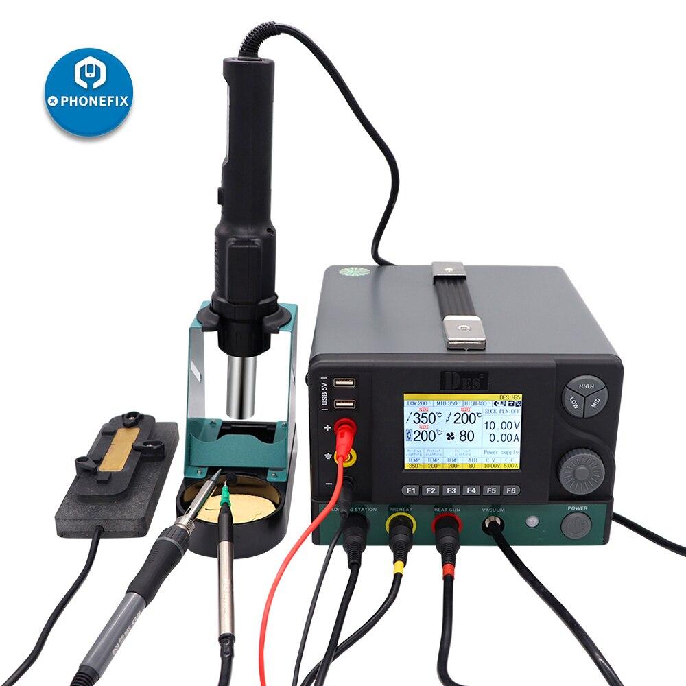 DES H 95 5 IN 1 Hot Air Gun Solder Iron Station SMD Rework Station Regulated Power Supply Welding Platform Electronic Repair Kit