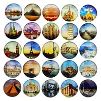 1 38in crystal glass refrigerator magnet home fridge magnetic stickers set decoration souvenir photo world famous buildings