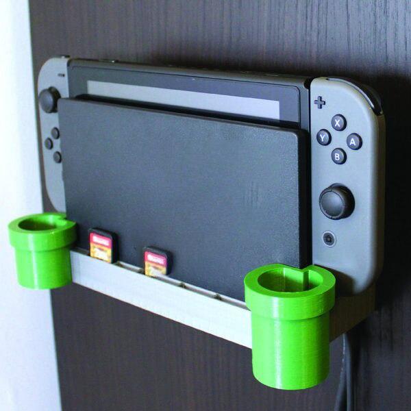 Modelado de tuberías de agua con impresión 3D para Nintendo Switch Ns soporte colgante de escritorio montado en la pared Base controlador caja de almacenamiento juego
