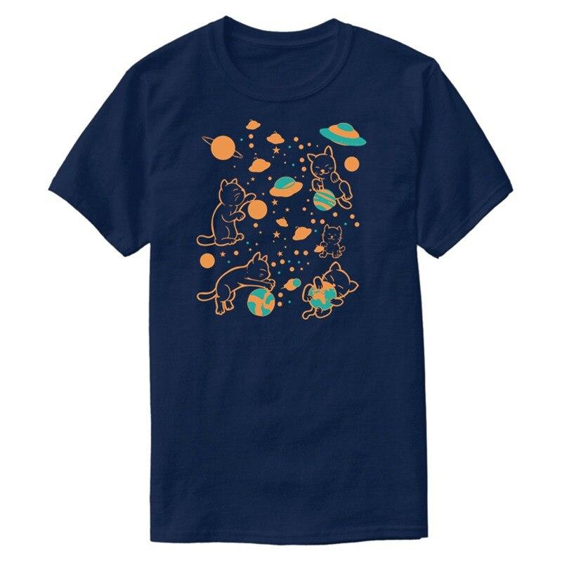 Logo de impresión-gatos en el espacio planetas Sistema Solar al azar T Shirt hombre gracioso hombres camiseta ropa 100% Camiseta de algodón