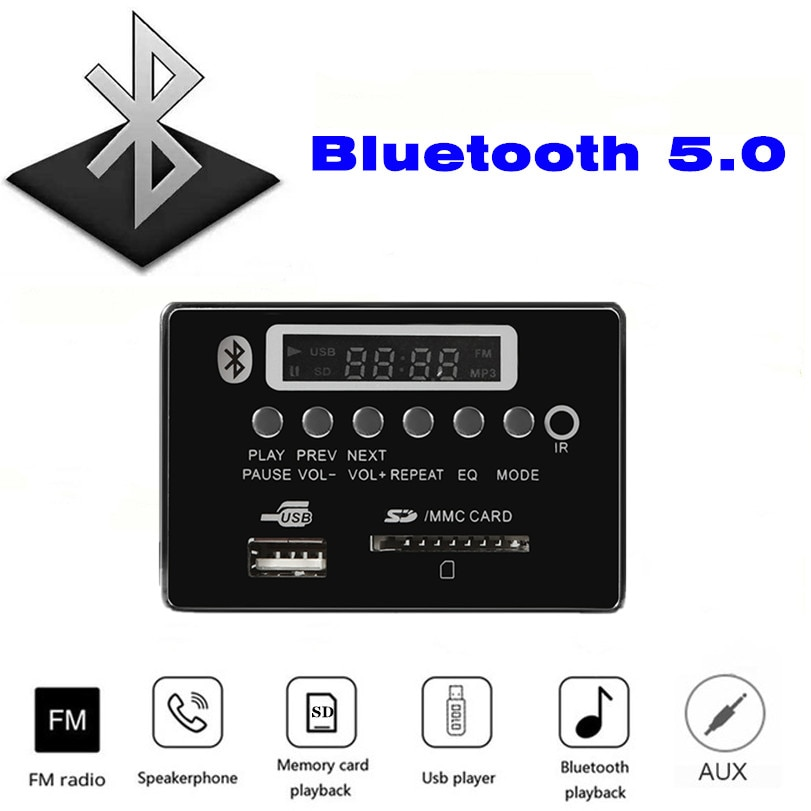 Bluetooth 5.0 MP3 Decoder Decoding Board Module 5 v 12v Car USB MP3 Music Player WMA WAV TF Card Slot USB FM Remote Board Module vicfine car audio usb tf fm radio module wireless bluetooth 6v 12v mp3 wma decoder board mp3 player with remote control