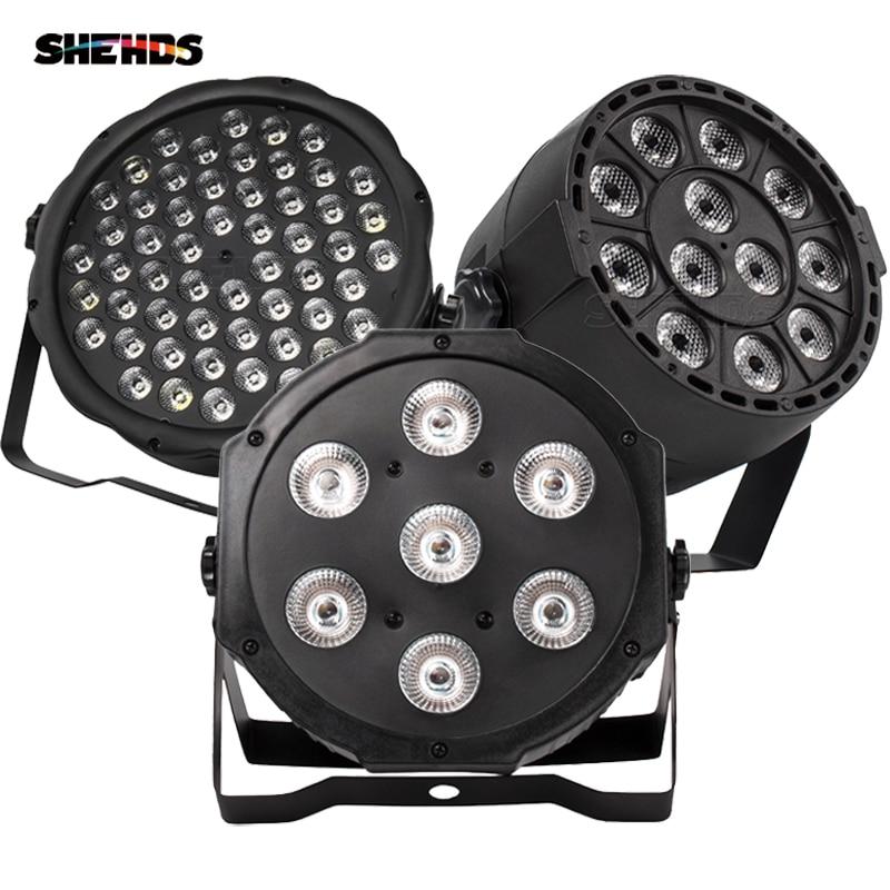 Free Shipping Best New Flat LED Par 7X12w/7X18W RGBW Quad Stage Wash Light DMX512 Controller DJ Equipment Disco Night Club Show