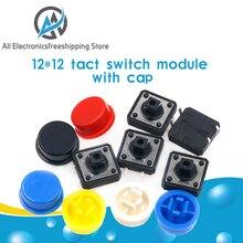 25 pièces Tactile bouton poussoir momentané 12*12*7.3MM Micro bouton de commutation + 25 pièces Tact Cap(5 couleurs) pour Arduino Switch