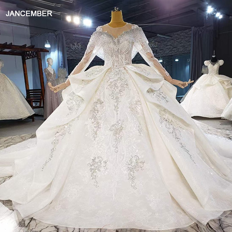 HTL2097 فستان زفاف مثير ، أكمام طويلة ، ياقة على شكل v ، ثوب الكرة ، مطرز بالكريستال ، ترتر ، فاخر ، برباط خلفي ، 2021