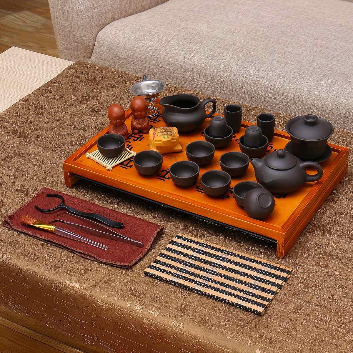 Purple Clay Kung Fu Tea Set Yixing Drinkware Tea Cup Tureen Infuser Chinese Tea Ceremony with Wood Tea Tray Home Teaware Sets