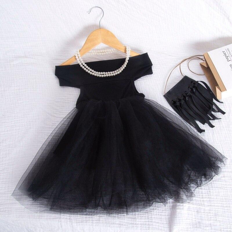 Baby Mädchen Kleidung Kinder Mädchen Sommer Neue Tutu Kleid Ärmel Reine Farbe Wort Schulter Kleider Spitze Prinzessin Party Kostüm