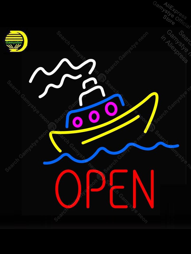 النيون تسجيل لفتح مع قارب النيون لمبة تسجيل الحرفية لافتة فندق دروبشيبينغ النيون بار علامات بوليس لافتات متجر النيون أضواء