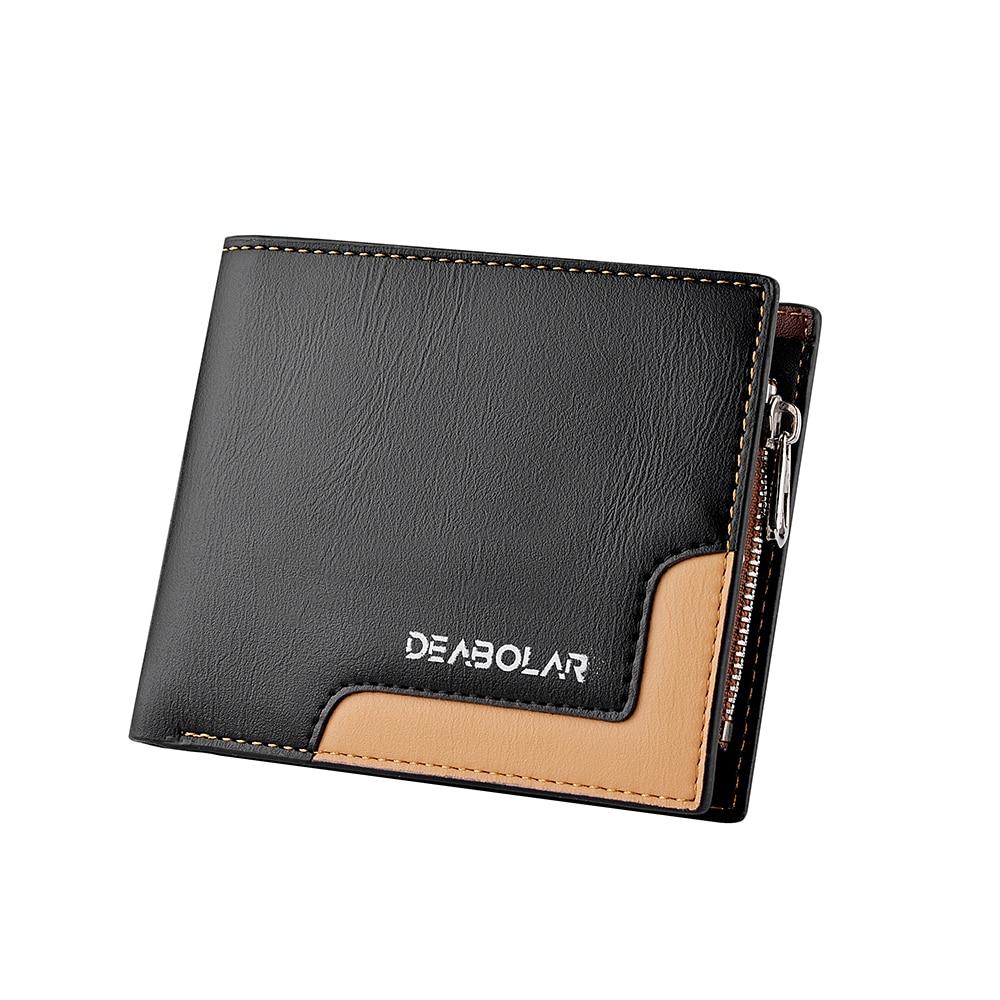 Men Business Short Wallet Patchwork Retro Cluth Coin Wallets Purses Credit Card Holders Three Fold Money Cash Pocket Bag