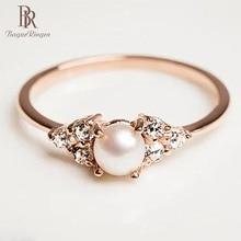 Bague Ringen bijoux 925 Bague en argent couleur or Rose perle Zircon ornements de main taille 6, 7,8, 9,10 cadeau anniversaire et anniversaire jour