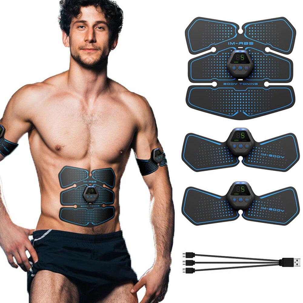 Monitor LCD ABS Estimulador muscular EMS estimulador Abdominal ejercitador de cadera masaje de Fitness eléctrico adelgazante masajeador moldeador de cuerpo