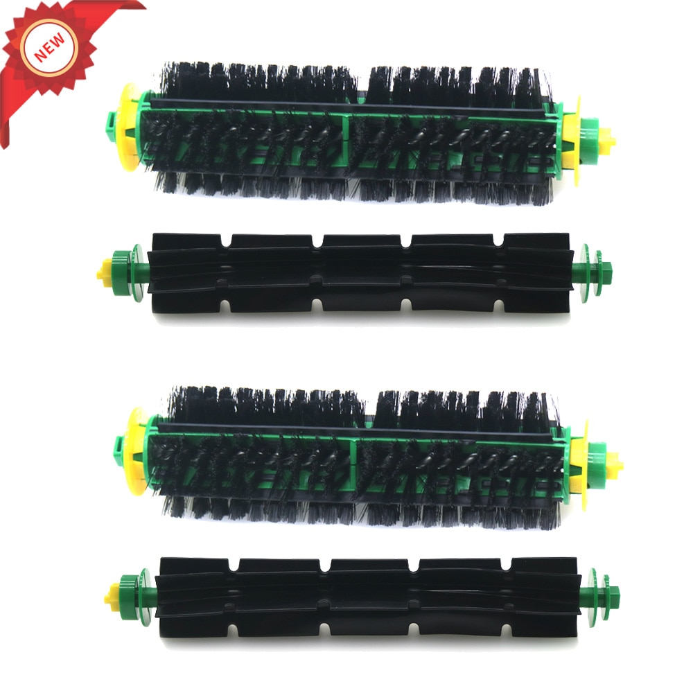 2 набора, щетка с щетиной + Гибкая щетка с венчиком для iRobot Roomba 500, серия 510, 550, 560, 570, 580, 610
