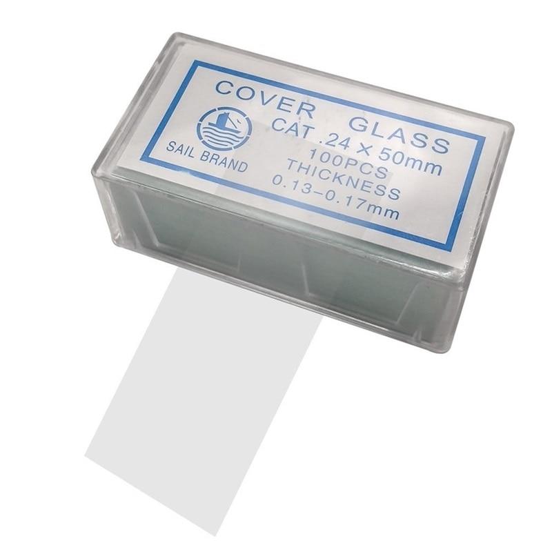 Купить с кэшбэком Free Shipping 100PCS 24x50 mm Microscope Glass Slides Cover Slips Blank Slides Microscope Accessories 0.13-0.17 mm Thickness