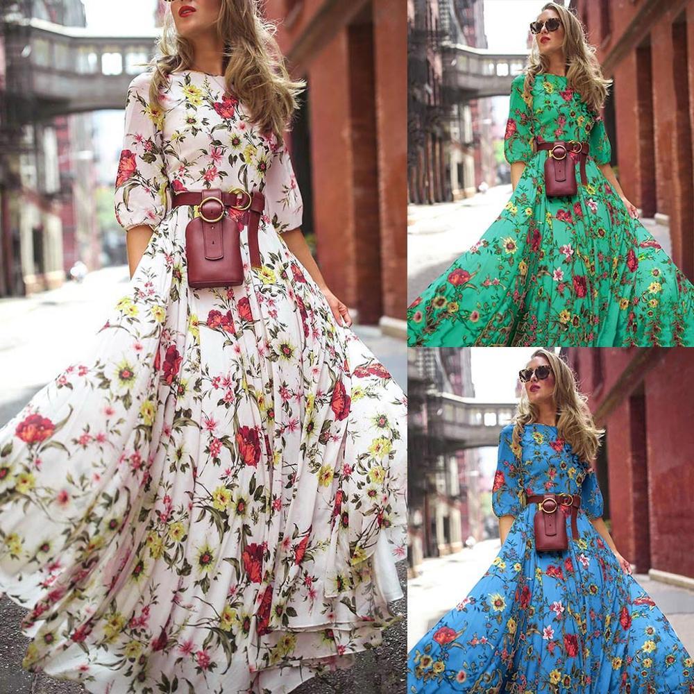 Vestido Maxi Floral BKLD Sexy para mujer Vestido largo de verano bohemio para mujer vestidos de playa hasta el suelo vestidos de fiesta de noche para mujer 2019